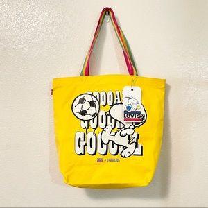 NWT! Levi's Peanuts Yelllow Tote Bag!